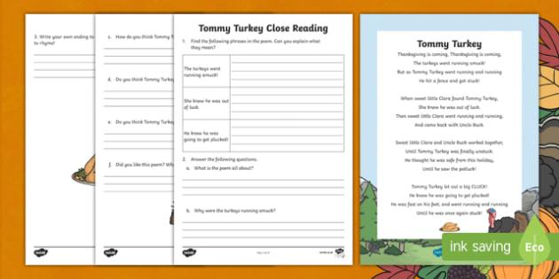 Thanksgiving Poem Close Reading Activity