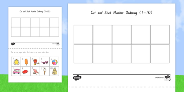 Summer Themed Cut and Stick Number Ordering Sheets 1-10 - nz, new zealand, number, summer, order