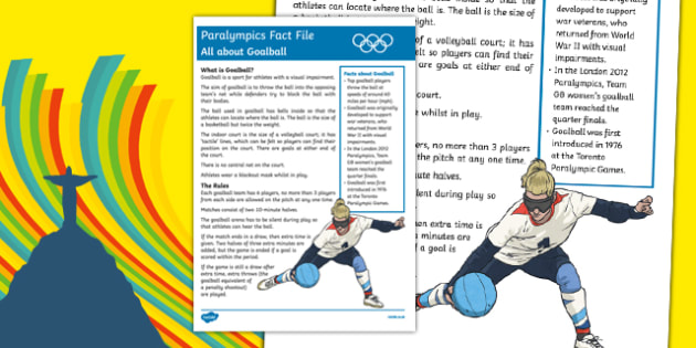 Rio Paralympics 2016: All About Goalball Fact File