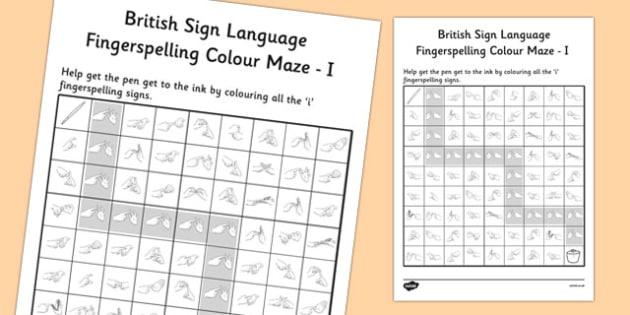 British Sign Language Fingerspelling Colour Maze I - colour, maze