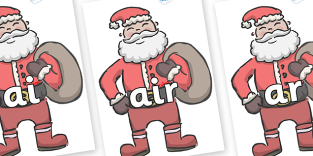 Phase 3 Phonemes on Santas - Phonemes, phoneme, Phase 3, Phase three, Foundation, Literacy, Letters and Sounds, DfES, display