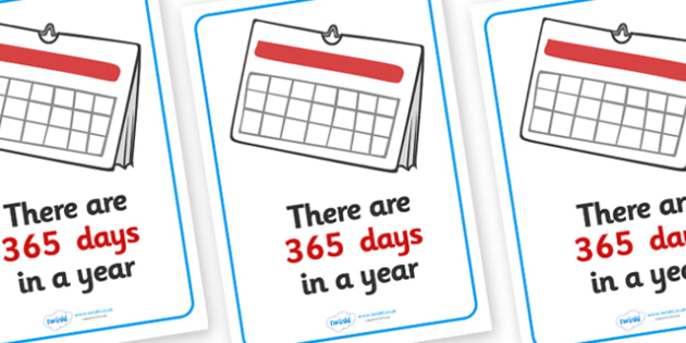 Visual Prompts Display Poster (Days In A Year) - days, year, visual prompt, aid, learning, time, 365 days, how many days in a year