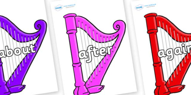 KS1 Keywords on Harps - KS1, CLL, Communication language and literacy, Display, Key words, high frequency words, foundation stage literacy, DfES Letters and Sounds, Letters and Sounds, spelling