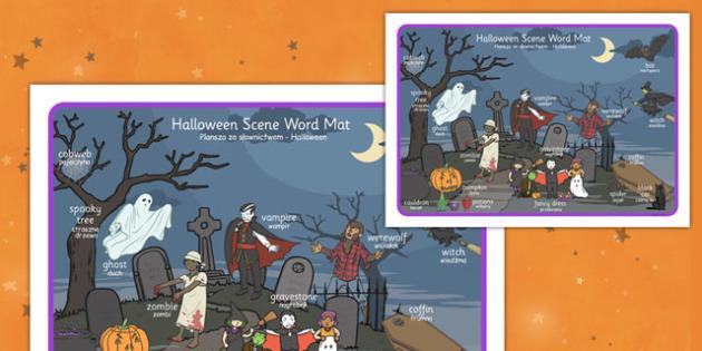 Halloween Scene Word Mat Polish Translation - polish, halloween, hallowe'en, scene, word mat, word, mat