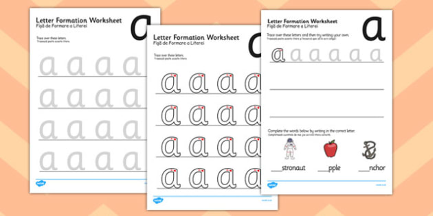 a z Letter Formation Worksheets Romanian Translation - english, information, pd, fine motor skills, practise, early years, ks1