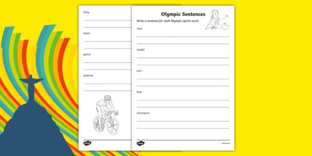Olympic Sports Words Sentence Writing Activity Sheet, worksheet