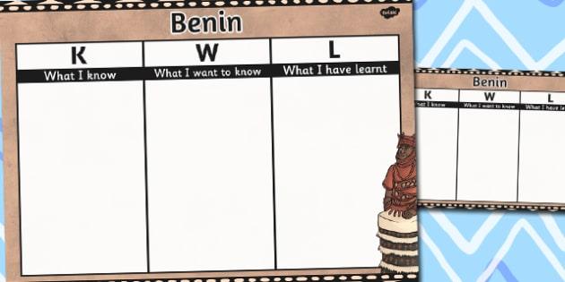 Benin Topic KWL Grid - benin, topic, kwl, grid, know, learn