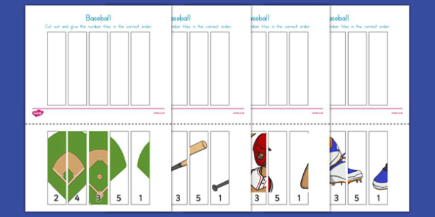 Baseball Themed Number Sequencing Puzzle - usa, baseball, mlb, major league baseball, number sequencing, puzzle, activity