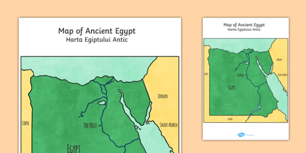 Map of Ancient Egypt Cut Out Romanian Translation - romanian, ancient egypt, map, cut out
