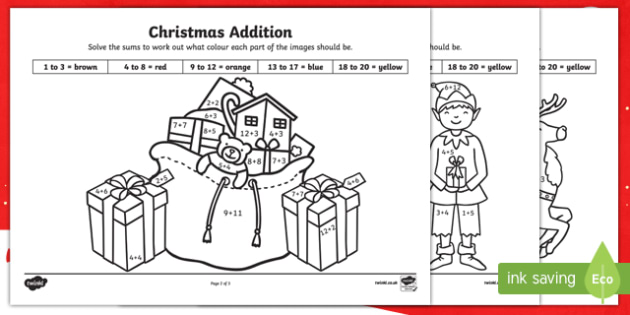 Christmas Addition to 20 Colour by Number