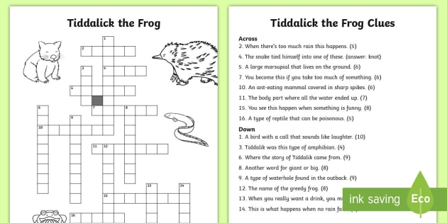 Tiddalick the Frog Crossword-Australia - Australian Aboriginal Dreamtime Stories, tiddalick the frog, crossword, vocabulary, spelling, fun, a