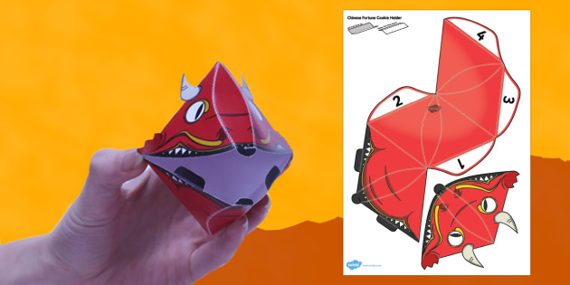 Chinese Fortune Cookie Holder Paper Model - fortune cookie, holder, chinese