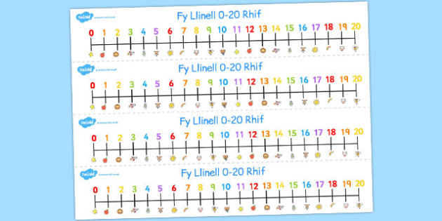 Fy Linell Rif 0-20 - welsh, number, line, 0-20, numbers