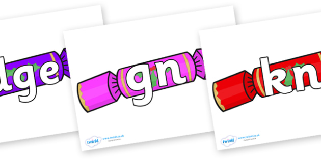 Silent Letters on Multicoloured Crackers - Silent Letters, silent letter, letter blend, consonant, consonants, digraph, trigraph, A-Z letters, literacy, alphabet, letters, alternative sounds