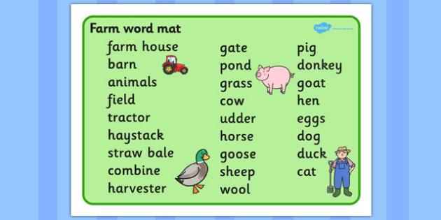 On the Farm Word Mat (Text) - Farm, word mat, writing aid, farm, pig, cow, chicken, goat, tractor, farmer, chicken, goat, sheep, hay, milk, eggs