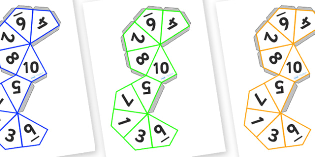 Dice Net (1-10) - dice, 1-10, templates, how to make a dice, numbers, number dice, template