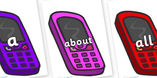 100 High Frequency Words on Mobiles - High frequency words, hfw, DfES Letters and Sounds, Letters and Sounds, display words
