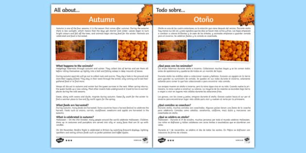 Autumn Differentiated Fact File Spanish Translation--translation