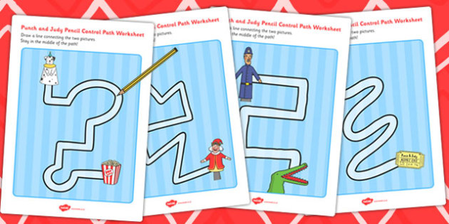Punch and Judy Pencil Control Path Worksheets - control, path