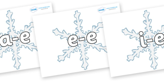 Modifying E Letters on Snowflakes - Modifying E, letters, modify, Phase 5, Phase five, alternative spellings for phonemes, DfES letters and Sounds