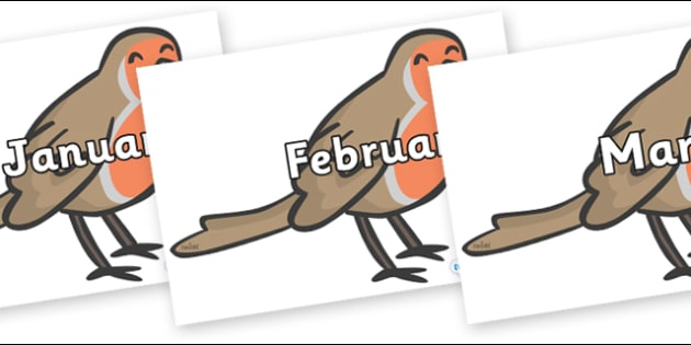 Months of the Year on Robins - Months of the Year, Months poster, Months display, display, poster, frieze, Months, month, January, February, March, April, May, June, July, August, September