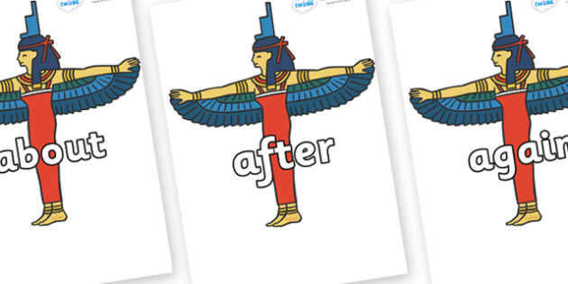 KS1 Keywords on Egyptians - KS1, CLL, Communication language and literacy, Display, Key words, high frequency words, foundation stage literacy, DfES Letters and Sounds, Letters and Sounds, spelling
