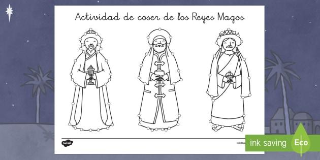 Actividad de coser de los Reyes Magos