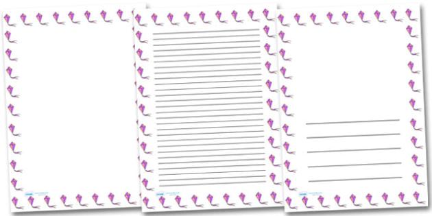 Kite Portrait Page Borders- Portrait Page Borders - Page border, border, writing template, writing aid, writing frame, a4 border, template, templates, landscape