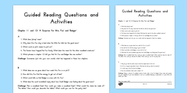 Guided Reading Questions Chapters 11 and 12 to Support Teaching on Fantastic Mr Fox - australia