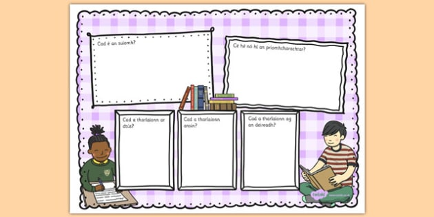 Book Review Writing Template Colourful Gaeilge - irish, gaeilge, reading review, read