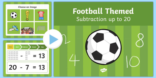 Football Themed Subtraction to 20 PowerPoint - football, subtraction, 20, powerpoint