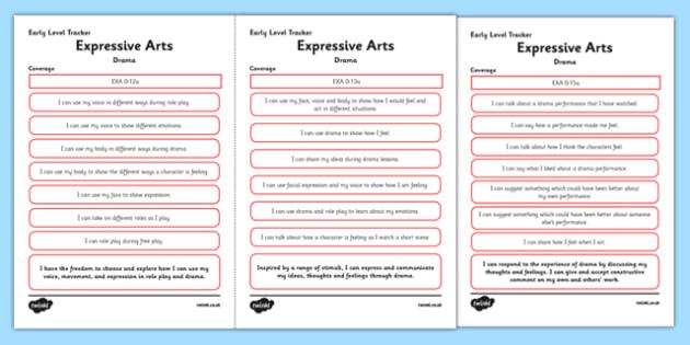 CfE Expressive Arts (Drama) Early Level Child Friendly Tracking-Scottish