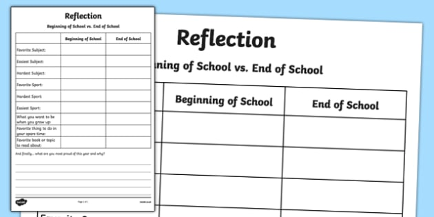 Reflection Writing Activity Sheet, worksheet