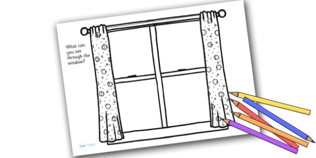 Window Frame Drawing Sheet - writing, drawing, colouring, eyes