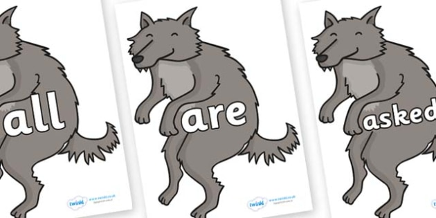 Tricky Words on Wolf - Tricky words, DfES Letters and Sounds, Letters and sounds, display, words