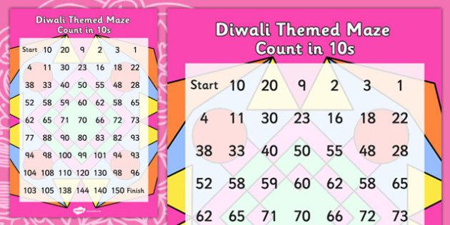 Diwali Counting in 10s Maze - hindu, RE, festivals, celebration