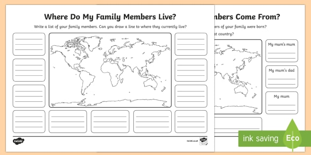 About Me and My Family Activity Sheet