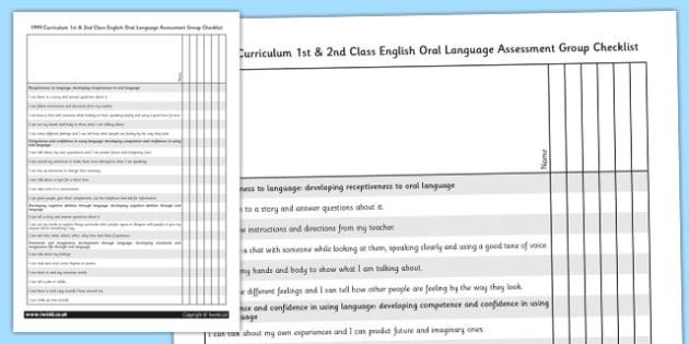 1999 Curriculum 1st & 2nd Class English Oral Language Assessment Group Checklist - Ireland, Irish, speaking and listening
