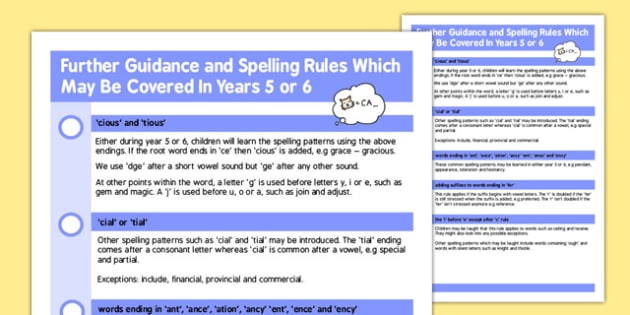 Parent Guidance for Spelling in Year 5 6 - spell, guide, words