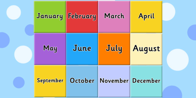 Months of the Year on Tiles - visual, displays, display, poster