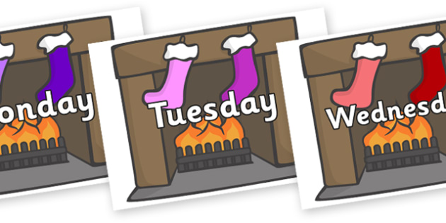 Days of the Week on Stockings & Fireplace - Days of the Week, Weeks poster, week, display, poster, frieze, Days, Day, Monday, Tuesday, Wednesday, Thursday, Friday, Saturday, Sunday