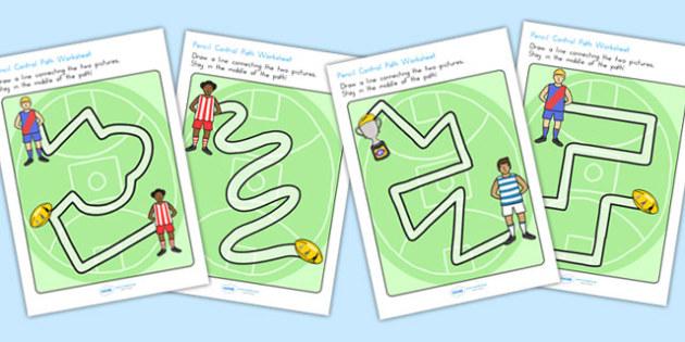 Australian Football League Pencil Control Path Worksheets - AFL