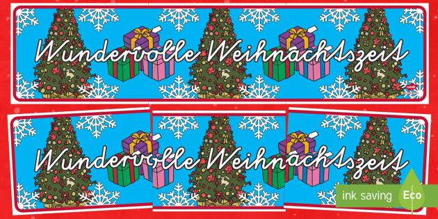 Wundervolle Weihnachtszeit Banner für die Klassenraumgestaltung