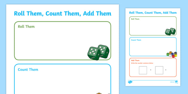 Roll Them, Count Them, Add Them Activity Sheet