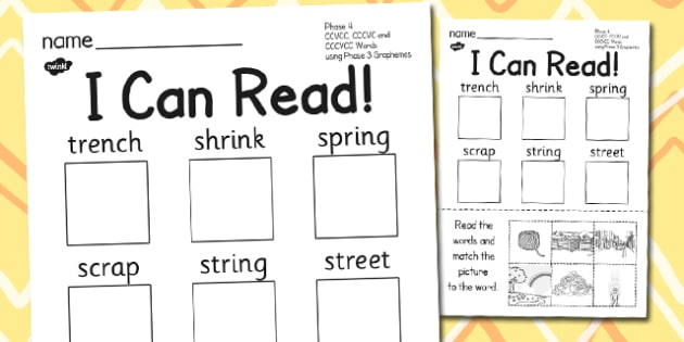 I Can Read Phase 4 Words Activity Sheet