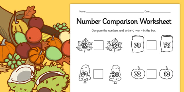 Autumn Number Comparison Worksheet - seasons, weather, compare