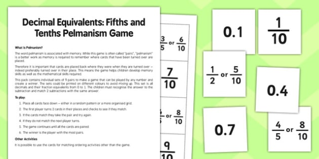 Year 6 Decimal Equivalents Fifths and Tenths Pelmanism Game - maths, numeracy, ks2, uks2, matching, memory game, activity, starter