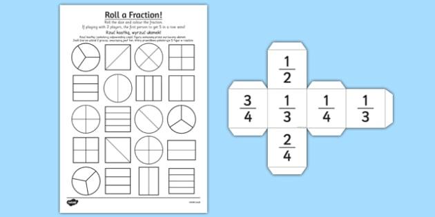 Year 2 Roll a Fraction Activity Sheet Polish Translation - polish, activities, fractions, worksheet