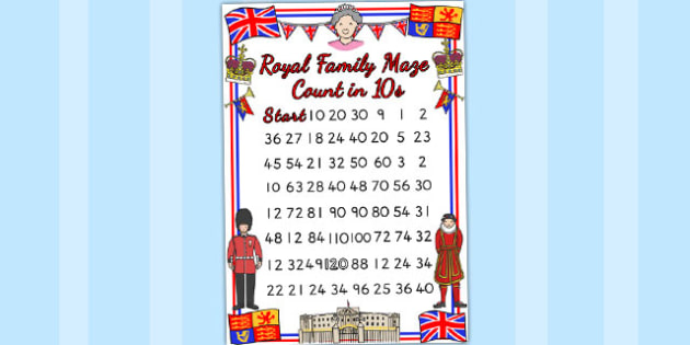 Royal Family Counting in 10s Maze Worksheet - queen elizabeth
