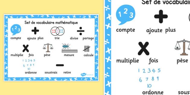 Set de vocabulaire mathématique Numeracy Instructions Word Mat French - french, numeracy, word mat, instructions